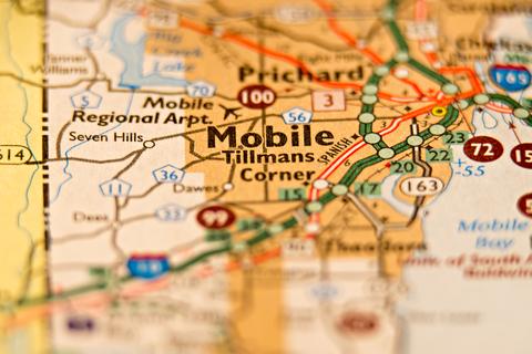 Mobile AL City Map Porta Potty Rentals